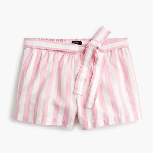 J Crew Linen Side Tie Striped Short